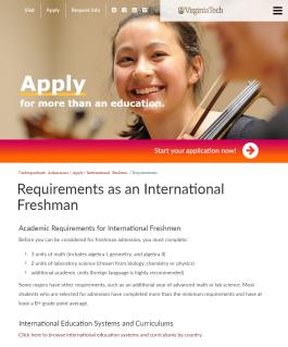 Requirements as an International Freshman