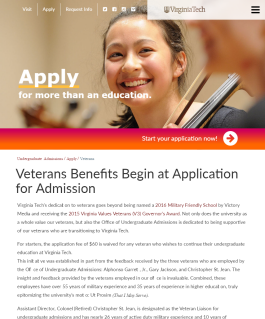 Veterans Benefits Begin at Application for Admission
