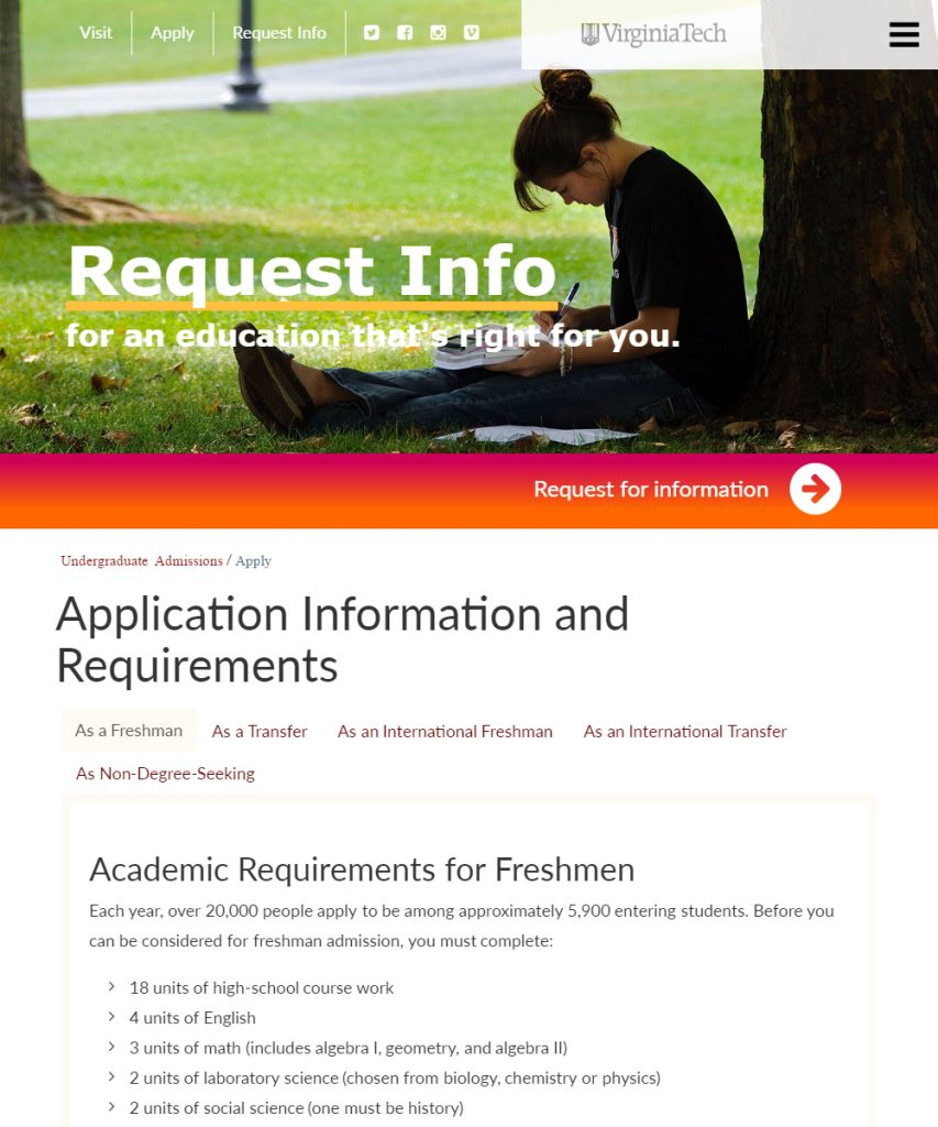 application information and requirements undergraduate application information and requirements undergraduate admissions virginia tech