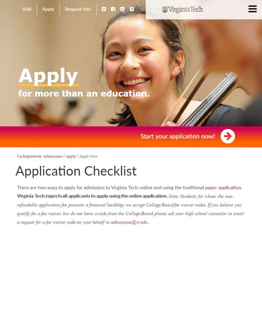 application checklist undergraduate admissions virginia tech