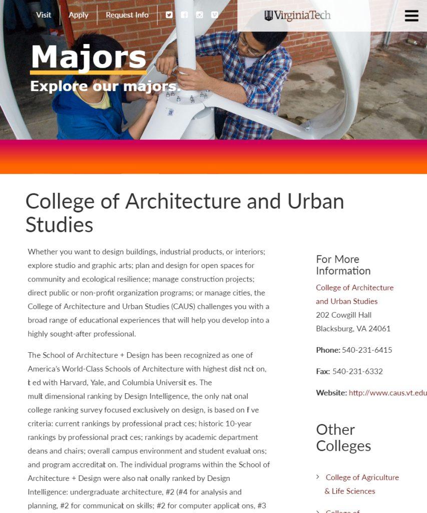 College Of Architecture And Urban Studies | Undergraduate Admissions |  Virginia Tech