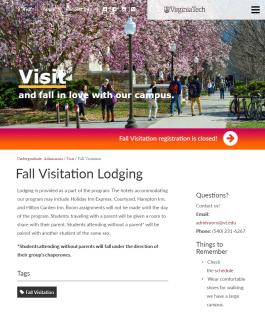 Fall Visitation Lodging