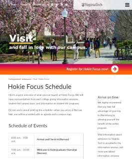 Hokie Focus Schedule